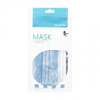 Máscara de Proteção c/ 3 Camadas e c/ Elásticos Cor:Azul - Embalagens de 5 Unidades