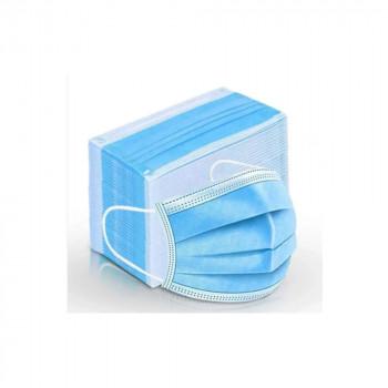 Máscara de Proteção c/ 3 Camadas e c/ Elásticos Cor:Azul - Embalagens de 50 Unidades