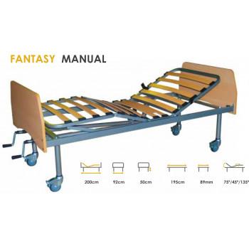 Cama Fantasy Manual de 4 planos, com 4 rodas e 2 travões